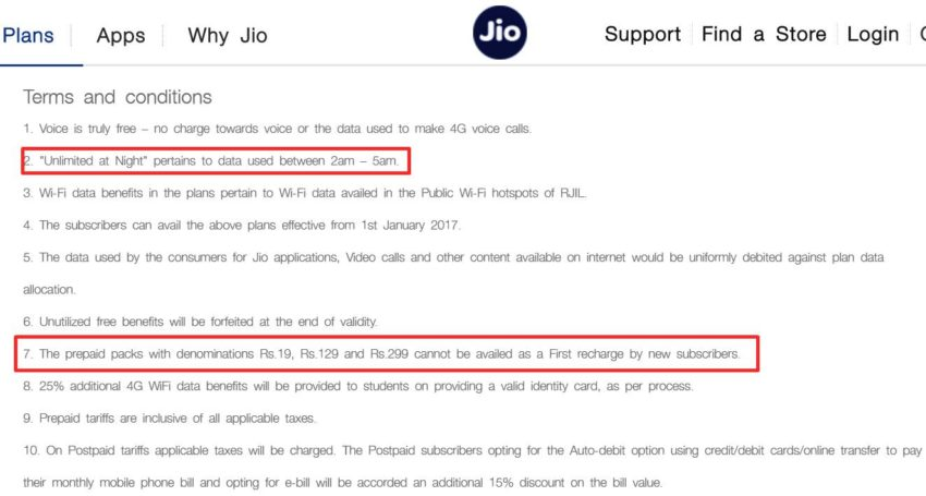 reliance jio Plan terms